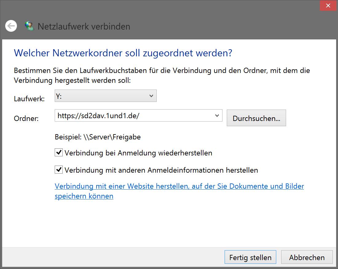 WebDAV-Verbindung erstellen