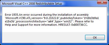 Fehler bei der Installation unter Vista