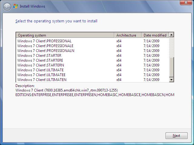 Auswahl Windows 7 (Teil 2)