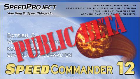 Startbildschirm von SpeedCommander 12 (Öffentliche Beta)