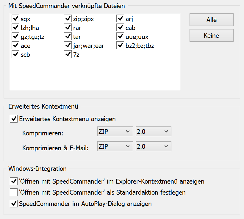 Einstellungen zur Windows-Integration