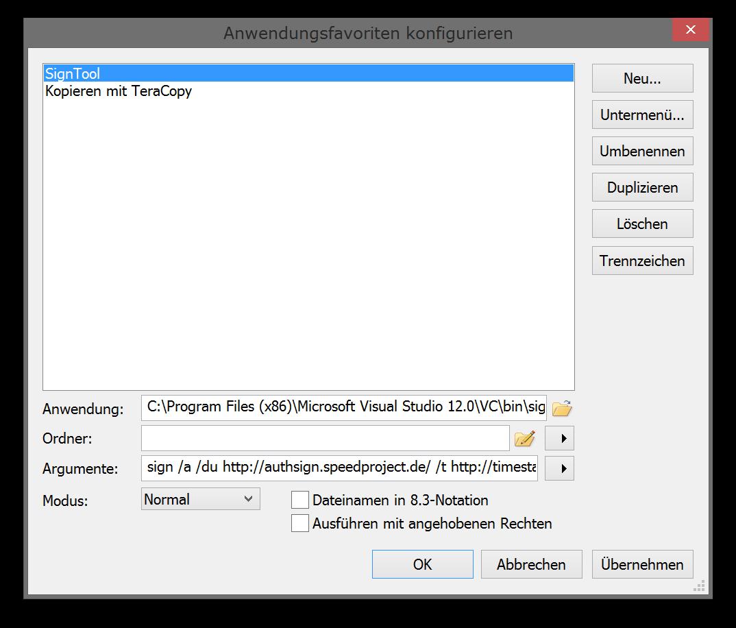 Anwendungsfavoriten konfigurieren