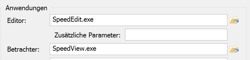 Zusätzliche Parameter für den Editor