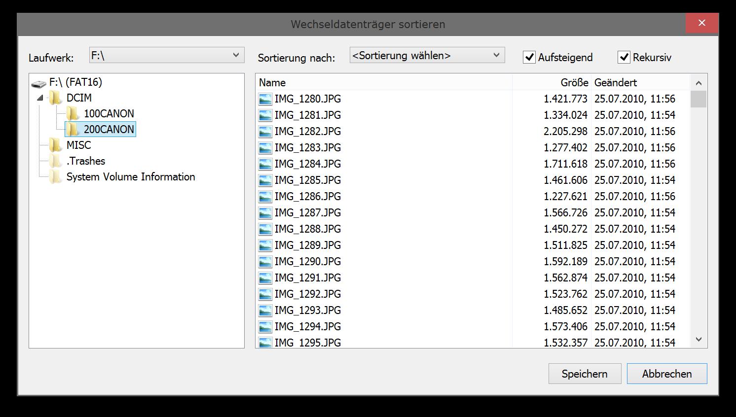 Dateien und Ordner auf Wechseldatenträgern sortieren