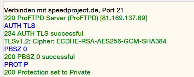 Protokoll und Cipher für FTP/SSL und SSH