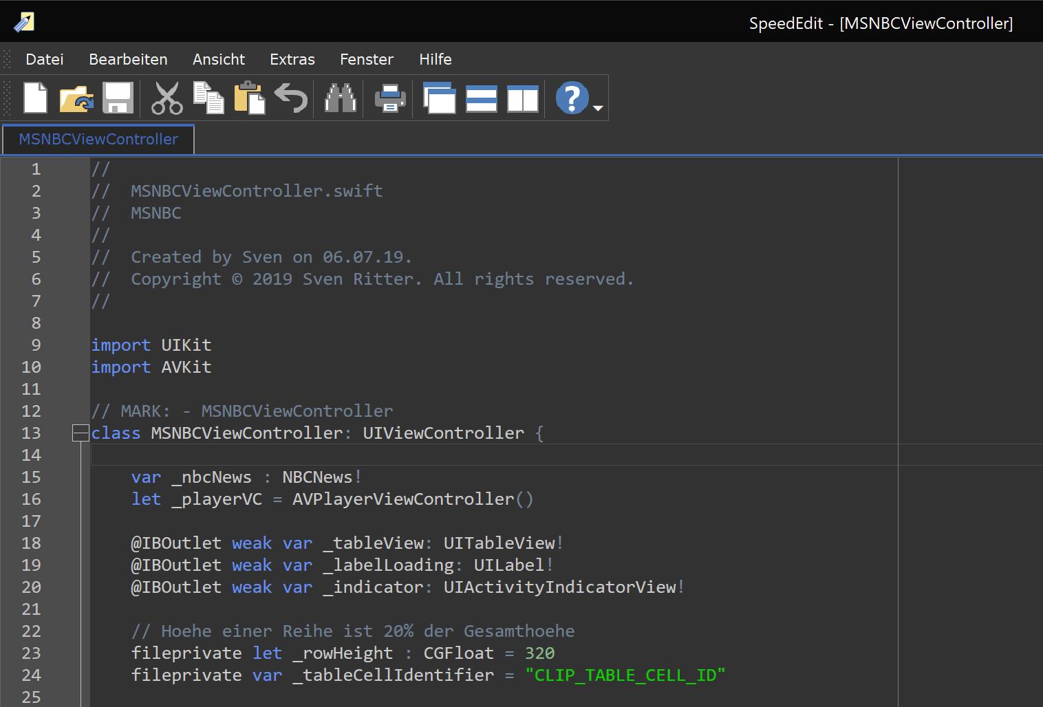 Syntaxhervorhebung für Swift